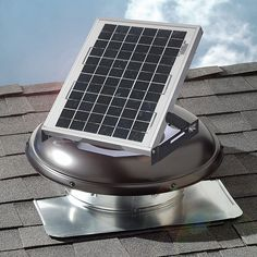 Active Ventilation Exhaust Attic Fan 365 CFM 5W Solar Powered Roof Mounted Brown