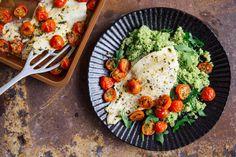 Photo for the dish: Tomaten-pochierte Scholle mit Rucola-Pesto und Bulgur