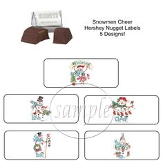 Christmas Snowmen Stocking Stuffer Party Favor Hershey Nugget Labels  Stickers  PartyTimeLabels  Christmas Christmas Party 5058e4f74093
