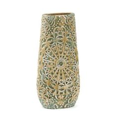 Floral arrangements never looked so lovely than in the Ceramic Jade Lacework Vase. The timeworn, rustic appearance of the vase paired with forever lively artificial blooms creates a charming contrast perfect for window or tabletop display. #kirklands #saratogasprings