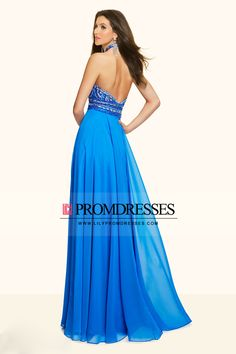 2016 Halter Beaded Bodice A Line Prom Dresses Chiffon With Slit