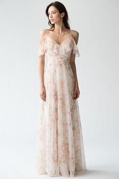 Printed Bridesmaids Dress, Mila Print in Blush Multi by Jenny Yoo. Blush printed v neck with spaghetti straps bridesmaids or event dress. Perfect for modern, elegant, and classic spring and summer weddings. #springwedding #pink