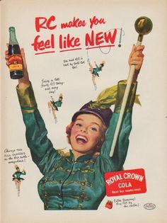 """Description: 1952 ROYAL CROWN COLA vintage print advertisement """"feel like NEW"""" -- RC makes you feel like NEW! Royal Crown Cola Best by taste-test -- Size: The dimensions of the full-page advertisement are approximately 10.5 inches x 14 inches (26.75 cm x 35.5 cm). Condition: This original vintage full-page advertisement is in Excellent Condition unless otherwise noted ()."""