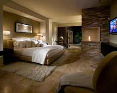 Would have to have some dark wood floors in here but love how cozy and warm this room is.