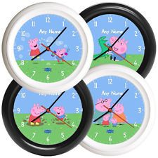 NEW Peppa Pig Personalised Wall Clock Gift Kids Childrens George 4 DESIGNS Name