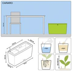 CUBE with irrigation system: less frequent watering and better plant growth! Pots, Plantation, Cool Plants, Winter Garden, Irrigation, High Gloss, Bar Chart, Cube, Floor Plans