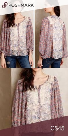 Anthropologie / HD in Paris top Size excellent condition. Beautiful peasant top by HD in Paris for Anthropologie. Loose and flowy this fits myself at a M/L Anthropologie Tops Blouses Peasant Tops, Tunic Tops, Plus Fashion, Fashion Tips, Fashion Trends, Anthropologie, Blouses, Paris, My Favorite Things