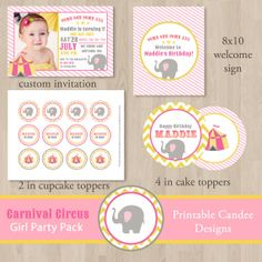 DIY Girl Carnival Circus Birthday Party Pack  by printablecandee, $30.00