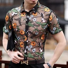 cee174a8ec3c6 Orange Flower Embroidery See Through Men Short Sleeve Slim Fit Shirt –  FanFreakz Flower Embroidery,