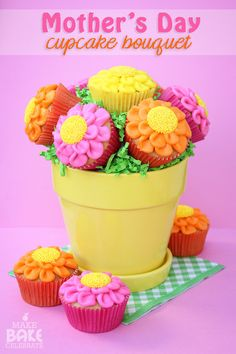 These pretty flower cupcakes are made with buttercream petals and sprinkle covered chocolate centers. They are really easy and fun to make!