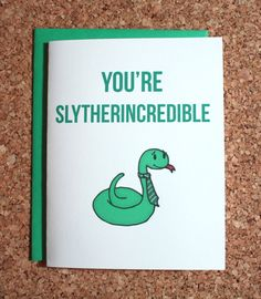Harry Potter Card Slytherin / You're by WhamCards on Etsy