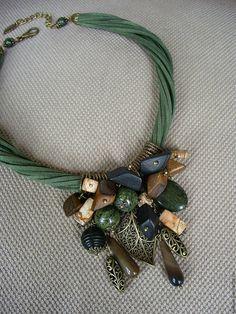 Купить Колье Дали.Август - кулон, зеленый, Колье с подвеской, яркое колье, необычное украшение