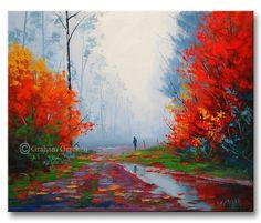 Paisaje de otoño gran óleo Impresionismo Pintura por GerckenGallery