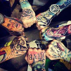 Colorful hand tattoos   KYSA #tattoo #ink #artwork