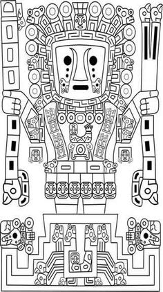 Apu Qun Tiqsi Viracocha: Incan God of Sun, Storms, Lightning and Creation through his tears. Arte Tribal, Aztec Art, Inca Art, Coloring Books, Coloring Pages, Art Du Monde, Inka, 3d Cnc, Mesoamerican