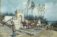 Algerie - Peintre Francais,Emile Auguste MARQUETTE1839- 1903), huile sur toile , Titre : Fontaine aux environ d'Alger