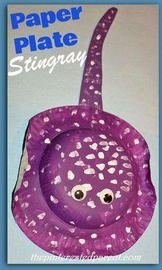Paper Plate Stingray Craft #ArtAndCraftPoster