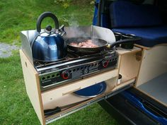 Roll out kitchen unit used for a small camper.