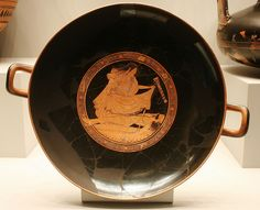 Red Figured Kylix (wine Cup), dipicting the suicide of Ajax, Brygos the painter, Terracotta, Greek, made in Athens, 490, BC, Getty Villa, Malibu, Dec. 2012