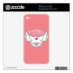 Love Is A Flying Pig iPhone 4S Decal - calligraphy gifts unique style cyo customize