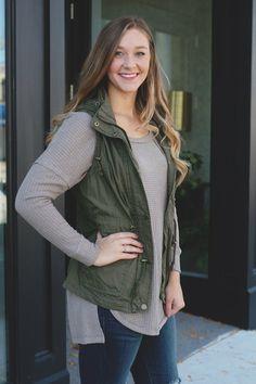 Olive Zipper Front Drawstring Waist Hooded Vest