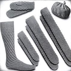 Spiral Socks, Mittens and Calot Set Pattern #375