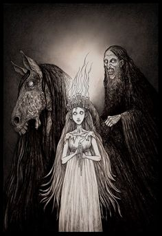 Lucia and her entorage' illustration by - john kenn mortensen. Arte Horror, Horror Art, Creepy Drawings, Art Drawings, Dark Fantasy, Fantasy Art, Illustrations, Illustration Art, Don Kenn