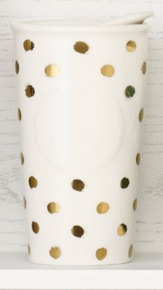 Double-walled ceramic mug with a metallic dot design. #Starbucks #DotCollection
