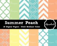 Handmade Chevron Digital Paper, PRINTABLE Preppy Paper, Birthday Party Paper, Peach Chevron, Party Paper, Morrocan Instant Download on Etsy, $5.00