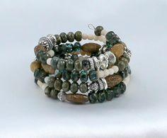 Gemstone and Czech Glass Bracelet.  Wrap Bracelet. by BlingbyDonna