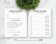 Open House Real Estate Please Sign In Forms, Please Sign In and Buyer Survey Form, Individual Sign In, Half Sheet Sign In, Buyer Survey Card