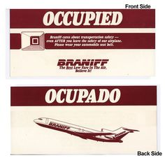 Braniff Airlines II Occupied Seat-Pocket Card Pocket Cards, Gate, Accessories, Pocket Charts, Ornament