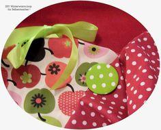 Stoffpakete - Stoffpaket♥Loop♥DIY Apfel-Dots Winter + Button + - ein Designerstück von kreawusel-aufgehuebscht bei DaWanda