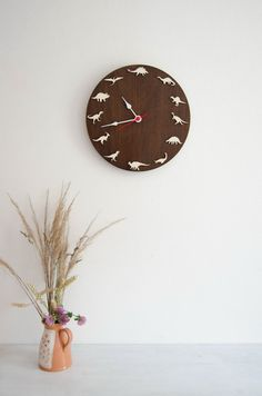 Dinosaurs Wooden wall clock kids gift, decoration ideas for kids room