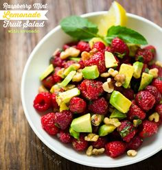 Raspberry-Mint Lemonade Fruit Salad + Avocado. For Brunching. | Healthy Happy Life