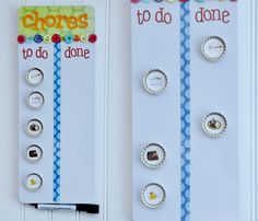 Simply KellyB: Handmade Chore Charts on Studio 5 - magnetic board with bottle cap magnets