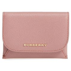 Women's Burberry Mayfield Leather Card Case ($375) ❤ liked on Polyvore featuring bags, wallets, dusty pink, genuine leather bags, brown leather wallet, 100 leather wallet, card carrier wallet and leather bags