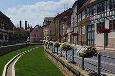 Bad Langensalza, Unstrut-Hainich-Kreis, Thuringia, Germany Bad Langensalza, Sidewalk, Display, Pictures, Floor Space, Billboard, Side Walkway, Walkway, Walkways