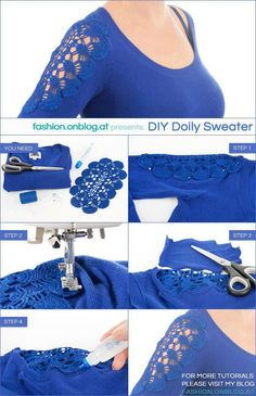 32 Super ideas for diy clothes ideas refashion lace Shirt Makeover, Shirt Refashion, Diy Shirt, Clothes Refashion, Diy Clothing, Sewing Clothes, Diy Kleidung, Diy Vetement, Diy Mode