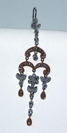 14 Karat Rose and White Gold Diamond Chandelier Dangle Earrings