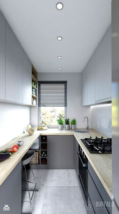 Kitchen Design Gallery, Galley Kitchen Design, Simple Kitchen Design, Grey Kitchen Designs, Kitchen Room Design, Kitchen Cabinet Design, Home Decor Kitchen, Interior Design Kitchen, Home Kitchens