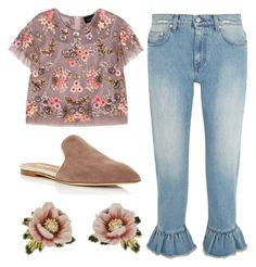 """Ruffled up"" by elisenotelsie ❤ liked on Polyvore featuring MSGM, Needle & Thread, Malone Souliers and Les Néréides"