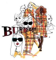 Stina Wirsen. Swedish illustrator creating an Burberry illustration