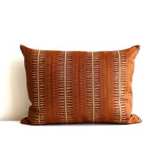 Lumbar Pillow - 12x16 - 12x21 - 12x24 - Rust Lumbar - Throw Pillow Cover - Decorative Pillow - Oblong / The front of this pillow is a medium weight