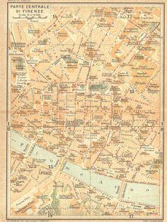 1922 Florence City Plan Italy at CarambasVintage