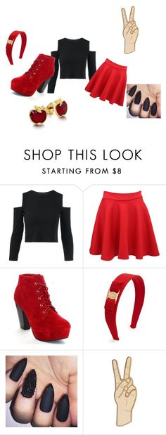 """Red Rebel"" by ariya1 on Polyvore featuring Pilot, Salvatore Ferragamo, Lucky Brand and Disney"