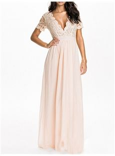 #Light Apricot #V-Neck Short Sleeve Women's Maxi Dress (Plus Size Available)
