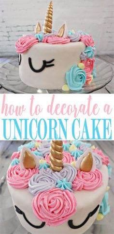 cake Unicorn simple - How To Decorate A Unicorn Cake: A Simple Tutorial - MomDot Diy Unicorn Birthday Cake, Easy Unicorn Cake, Unicorn Cake Pops, Birthday Cake Girls, Unicorn Cakes, Birthday Kids, Birthday Cakes, How To Make A Unicorn Cake, Unicorn Party