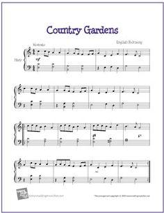 Country Gardens | Free Sheet Music for Harp - http://www.makingmusicfun.net/htm/f_printit_free_printable_sheet_music/country-gardens-harp.htm