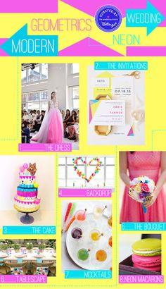 A bright and modern theme. Think geometrics meet neon in a dazzling wedding! #geometrics #geometricsweddings